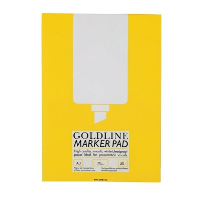 Goldline Marker Pad Bleedproof 70gsm 50 Sheets A3 White Ref GPB1A3Z [Pack 5]