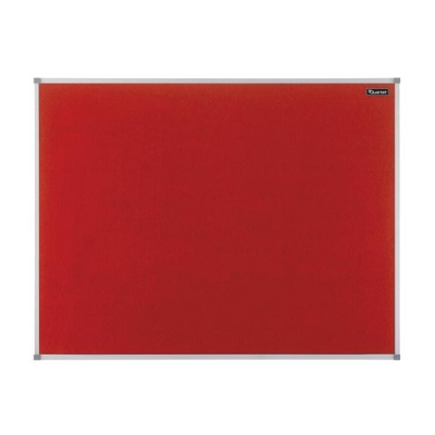 Quartet Felt Notice Board Aluminium Trim 900x600mm Red Ref 1904066