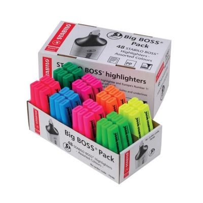 Stabilo Boss Highlighters Chisel Tip 2-5mm Line 8 Assorted Colours Ref UK/70/48-2 [Pack 48]