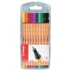 Stabilo Point 88 Fineliner Pen Water-based 0.8mm Tip 0.4mm Line Assorted Ref 88/10 [Pack 10]