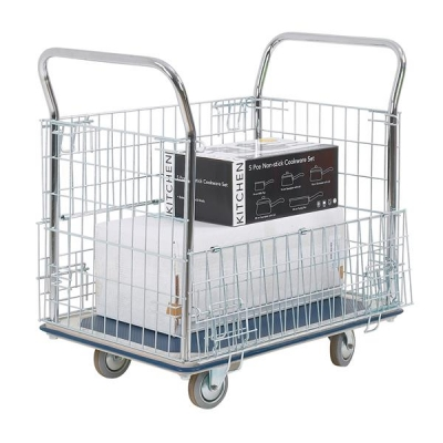 Platform Truck Chrome Plated Mesh Panels Capacity 300kg