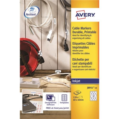 Avery Cable Markers Inkjet Tear-proof Foil Ref J8951-10 [120 Labels]