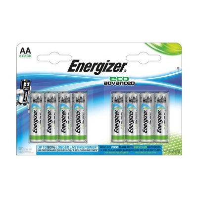 Energizer Eco Advance Batteries AA / E91 Ref E300116500 [Pack 8]