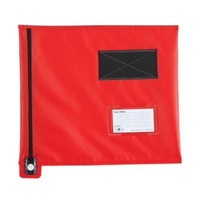 Mailing Pouch Flat A4 Plus Lockable Zip Red 355x 386mm
