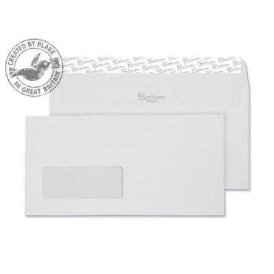 Blake Premium Wallet Window Peel & Seal 120gsm Wove Finish High White DL [Pack 500] Ref 35884