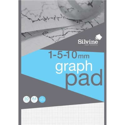 Silvine Student Graph Pad 90gsm 1mm 5mm 10mm Grid 50 Sheets A4 Ref A4GP1510 [Pack 10]