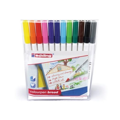 Edding Colouring Pens Broad Washable Assorted Ref 1417999 [Pack 12]