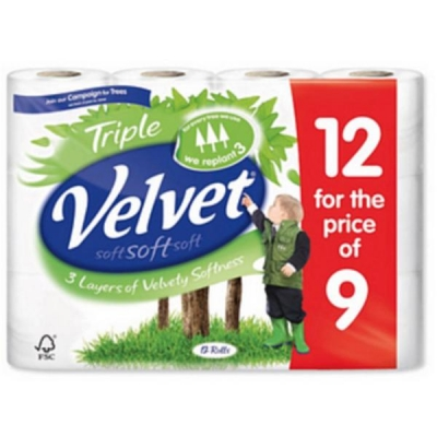 Triple Velvet Toilet Rolls White Ref M01369 [Pack 12]