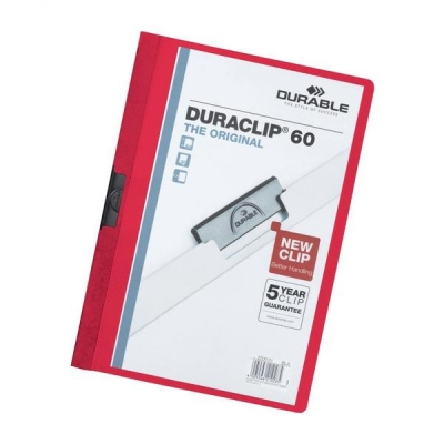 Durable Duraclip Folder PVC Clear Front 6mm Spine for 60 Sheets A4 Red Ref 2209/03 [Pack 25]