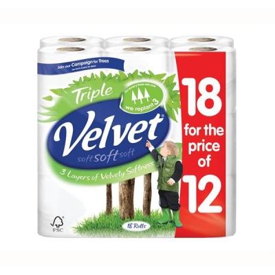 Triple Velvet Toilet Rolls Ref 4014141 [Pack 12 Plus 6 FREE]