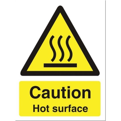 Stewart Superior Catering Sign Caution Hot SurfaceSelf Adhesive Vinyl W150xH200mm Ref CS005SAV