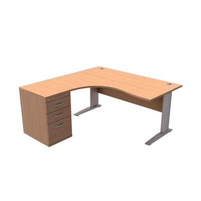 Sonix Radial Desk Left-hand 1600mm with 600mm Desk-high Pedestal Beech