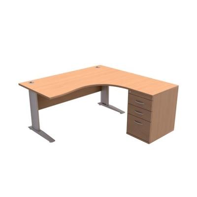 Sonix  Desk Radial Right-hand 1600mm with 600mm  Desk-high Pedestal Beech