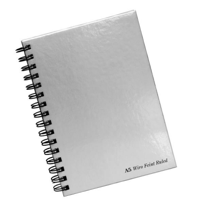Pukka Pad Notebook Wirebound Hardback Perforated Ruled 90gsm 160pp A5 Silver Ref WRULA5 [Pack 5]