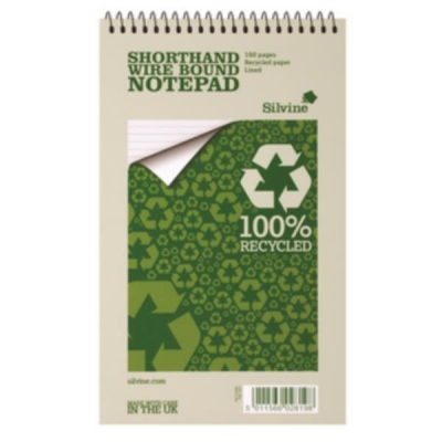Silvine Everyday Shorthand Notepad Recycled Wirebound Ruled 160pp 70gsm 125x200mm Ref RE160 [Pack 12]
