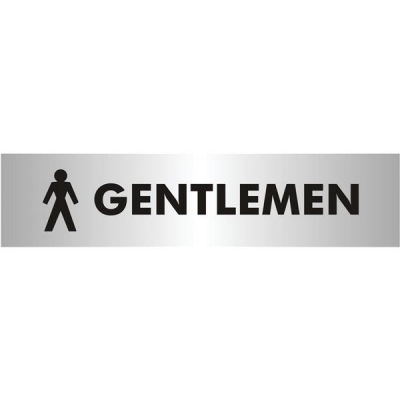 Gentlemen Sign Brushed Aluminium Acrylic 190x45mm