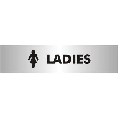 Ladies Sign Brushed Aluminium Acrylic 190x45mm
