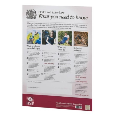 Stewart Superior Health and Safety Law HSE Statutory Poster 2009 PVC W420xH595mm A2 Ref FWC80