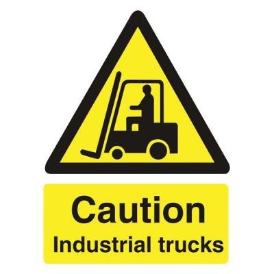 Stewart Superior Caution Industrial Trucks Sign Self Adhesive Vinyl 150x200mm Ref WO135SAV
