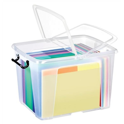 Strata Smart Box Clip-On Folding Lid Carry Handles 40 Litre Clear Ref HW674CLR