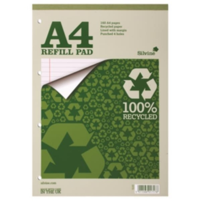 Silvine Everyday Refill Pad Recycled Ruled Margin 160pp 70gsm A4 Ref RE4FM [Pack 6]