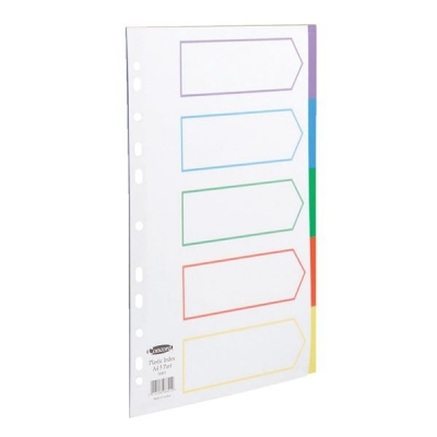 Concord Subject Dividers Polypropylene Europunched 5-Part A4 Assorted Ref 06801