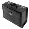 Alassio Ferrara Pilot Case Leather Laptop Compartment 2 Combination Locks Black Ref 45045