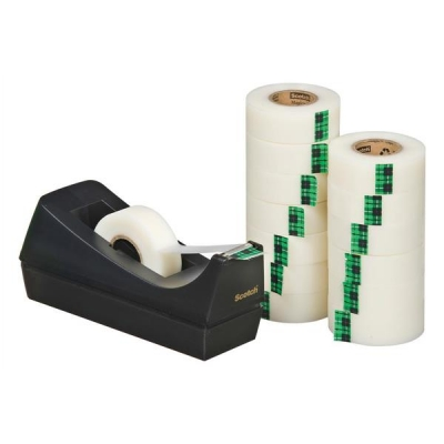 Scotch Magic Tape 900 Roll Natural Fibre Film 19mmx33m Matt Ref 9-1933R14C38 [Pack 14 and C38 Dispenser]