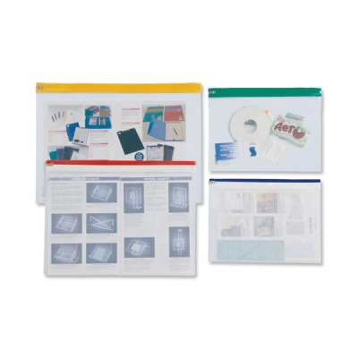 Zip Pouch Heavy-duty PVC Clear with Coloured Seal A4 Assorted [Pack 10]