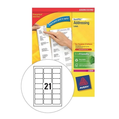 Avery Addressing Labels Laser Jam-free 21 per Sheet 63.5x38.1mm White Ref L7160-100 [2100 Labels]