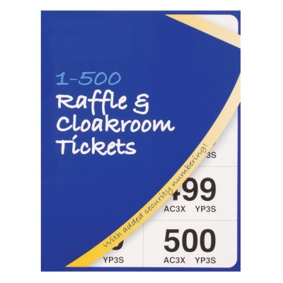 Cloakroom or Raffle Tickets Numbered 1-500 Assorted Colours [Pack 12]