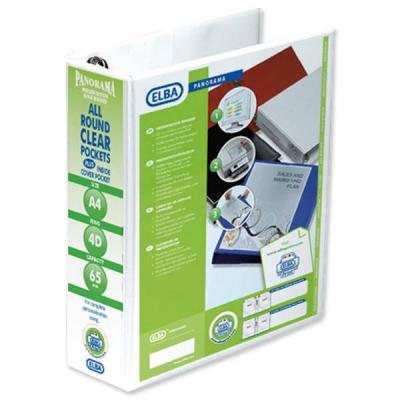 Elba Panorama Presentation Ring Binder PVC 4 D-Ring 65mm Capacity A4 White Ref 400008673 [Pack 4]