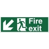 Stewart Superior Fire Exit Sign Man and Arrow Down Left 450x150mm Self-adhesive Vinyl Ref SP122SAV