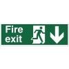 Stewart Superior Fire Exit Sign Man and Arrow Down 450x150mm Self-adhesive Vinyl Ref SP124SAV