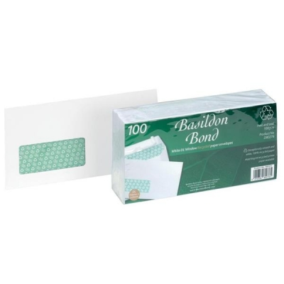 Basildon Bond Envelopes Recycled Wallet Window Peel and Seal 120gsm DL White Ref D80276 [Pack 100]