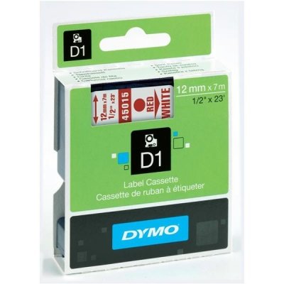 Dymo D1 Tape for Electronic Labelmakers 12mmx7m Red on White Ref 45015 S0720550