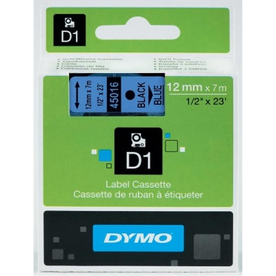 Dymo D1 Tape for Electronic Labelmakers 12mmx7m Black on Blue Ref 45016 S0720560