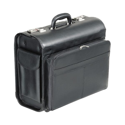 Alassio San Remo Trolley Pilot Case Multi-section 2 Combination Locks Leather-look Black Ref 45030