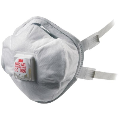 3M Respirator Valved FFP3 Classification Dust Mist Fumes Colour Coded Red Ref 8835 [Pack 5]