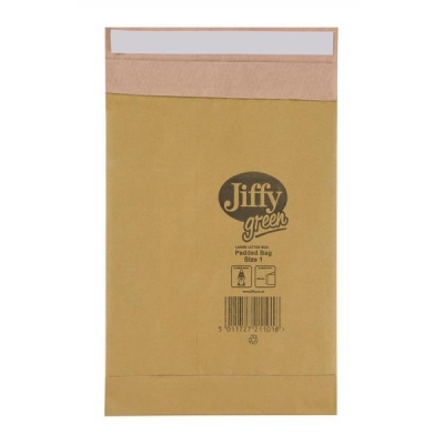 Jiffy Padded Bag Envelopes No.1 Brown 165x280mm Ref JPB-1 [Pack 100]