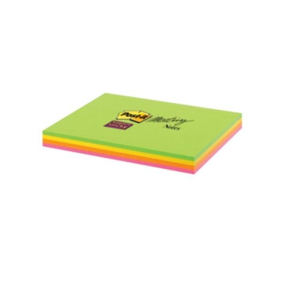 Post-it Super Sticky Meeting Notes Pads of 45 Sheets 149x98.4mm Bright Colours Ref 6445-SSP [Pack 4]