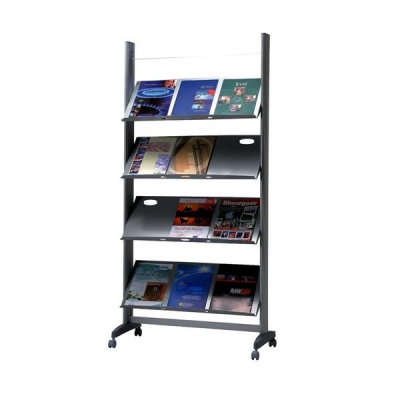 Literature Display Mobile 1 Sided 4 Metal Shelves 38mm Lip