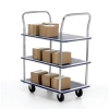 5 Star Trolley Steel Frame Non Marking Wheels Capacity 120kg 3 Shelf Chrome