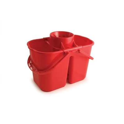 Duo Mop Bucket Colour Coded 7 and 8 Litre Sections Total 15 Litre Red