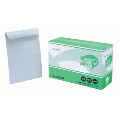 5 Star Eco Envelopes Recycled Wallet with Window Press Seal 90gsm C4 White Ref 273254 [Pack 250]
