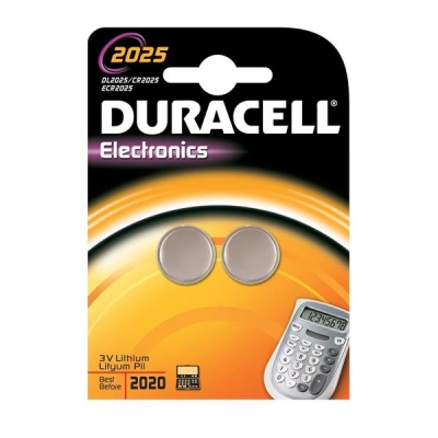 Duracell DL2025 Battery Lithium for Camera Calculator or Pager 3V Ref 75072667 [Pack 2]