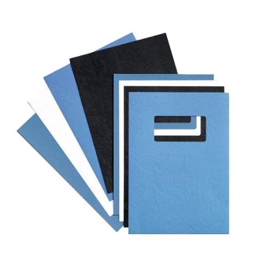 GBC Binding Covers Leatherboard Window 250gsm A4 Blue Ref 46735E [Pack 25x2]