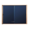Nobo Display Cabinet Noticeboard Slimline Lockable Sliding Door Oak W1000xH825mm Blue Ref 32632503