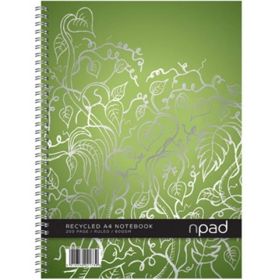 Oxford npad Notebook Recycled Wirebound Ruled Margin 200pp 80gsm A4 Green Ref 100080924 [Pack 3]