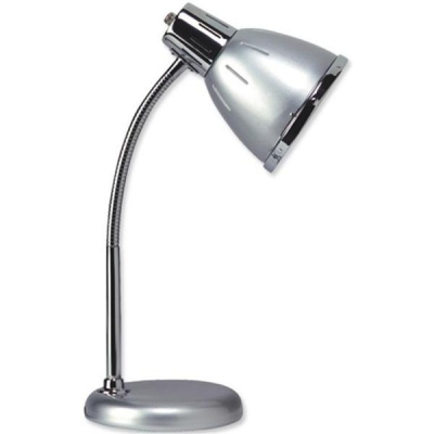 Unilux Retro Desk Lamp Fluorescent Flexible Arm Ventilated Shade H400mm 12W Grey